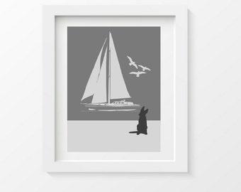 German Shepherd on Beach Art Print, Nautical Decor, Dog Lover Gift, Sail boat, Beach Poster, dog lover gift