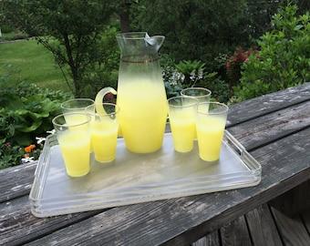Vintage Yellow Blendo Glass Pitcher Set With 6 Glasses Mid Century Barware Yellow Ombre Yellow Fade Glassware Set Lemondade Pitcher Set