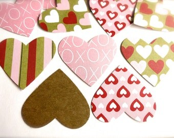 Sweet Heart Patterned Paper Labels-Lot of 25-Kraft Tan, XOX, Hearts & Stripes OR CUSTOM Colors-Paper Heart Confetti-Bridal Shower-Gift Wrap