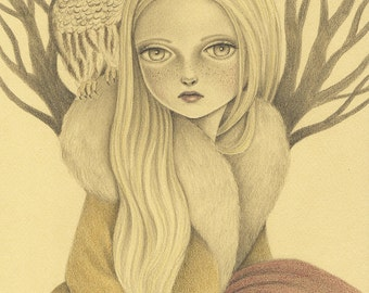 Art Print of Original Pencil Drawing, Within Wisdom Fantasy Art Signed Print, Drawing of Bohemian Girl and Owl