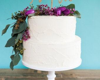 MR and MRS gold glitter wedding cake topper | gold cake topper