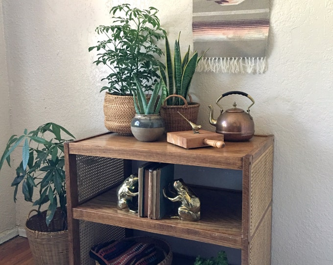 Vintage Wood and Woven Cane Rolling Two Tiered Shelf / Table / Bookcase