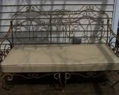 jiggsandgus,vintage french style wrought iron garden sofa,iron bench,settee,cream patio sofa,iron scroll sofa,chippy paint,fab iron settee