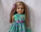 18 Inch Doll-American Girl Dress: Tropical batik dress and flower hair clips for Lea Clark