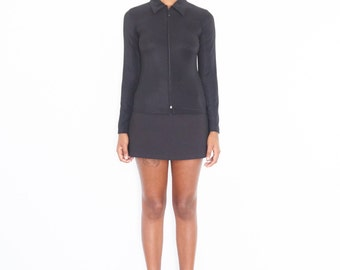 90s Minimal Black Long Sleeve Zipper Shirt