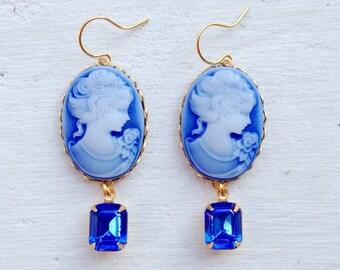 Cameo Earrings/Blue Cameo Earrings/Blue Sapphire Earrings/Cobalt Blue Earrings/Blue Rhinestone Earrings/Blue Earrings/Mother's Day Gift