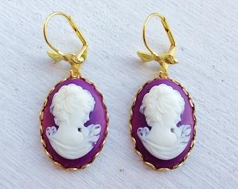 Cameo Earrings/Bow Earrings/Purple Cameo Earrings/Plum Bridesmaid Earrings/Purple Earrings/Dark Purple Earrings/Gifts For Her/Cameo Jewelry