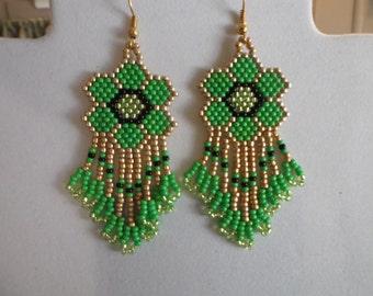 SALE Native American Style Beaded Daisy Green & Gold Flower Earrings Brick Stitch Gypsy Boho Southwestern Hippie Hand Made Ready to Ship