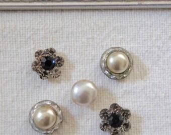 Charmed-Push pins, decorative thumb tacks, vintage jewelry push pins, thumb tacks, push pins, thumb tack set by My Sweet Maison.
