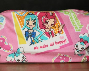 SALE - Precure Anime Snapshot print handmade large square zipper bag