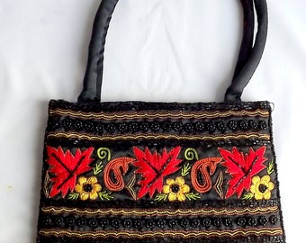 Vintage beaded and embroidered bag, purse, 1980s, from India