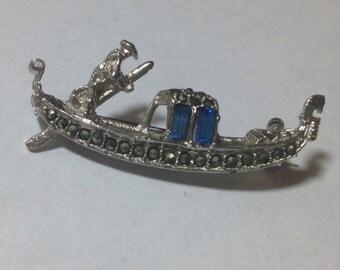 SALE Vintage 800 Silver Marcasite Gondola Blue Rhinestone Pin