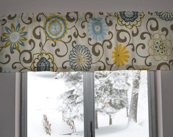 Kitchen Valance . Kitchen Curtain .  Pom Pom Play Spa by Waverly . Custom Curtain . Handmade by Pretty Little Valances
