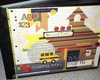 SALE!!-SCHOOL DAYS Scrapbook Album / Graduation Memories Pre-made 8.5 x 11 Landscape