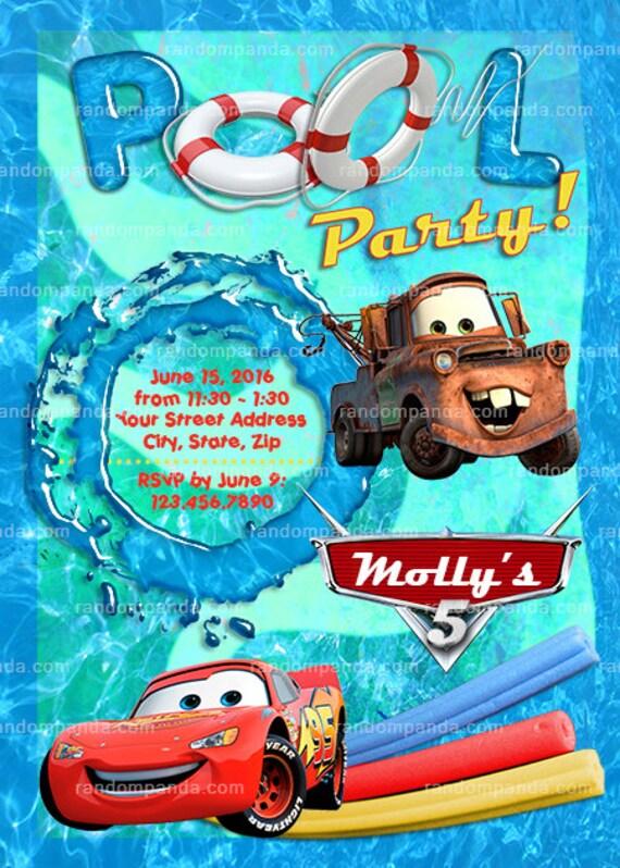 Printable Cars Swimming Pool Invitation Cars Party Lightning Mcqueen Invite By Random Panda