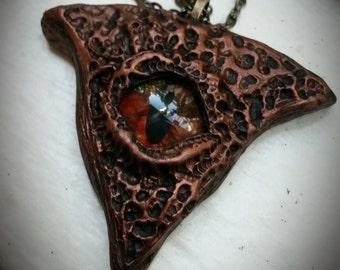 Clay eye pendant amulet halloween renaissance fantasy horror