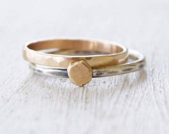 Hammered Solid 14K Gold Band and Silver and Gold Ring - Wedding - Delicate Jewelry - Petite Jewelry - Stacking Ring - Gift For Her