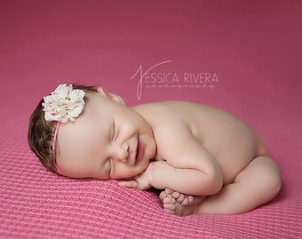 Ivory with pink rosebuds, 2 inch petal flower on skinny elastic, just perfect for a newborn, photo shoots or everyday, Lil Miss Sweet Pea