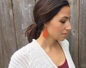 pumpkin spice leather earrings