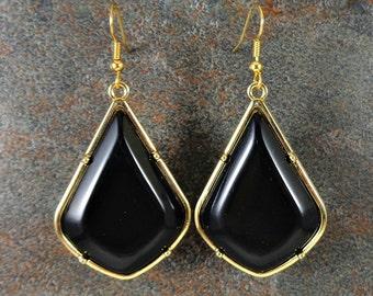 Statement Earrings, Geometric Earrings, Black, Gold, Triangle Earrings, Big Earrings, Black Earrings, Teardrop Earrings, Modern Earrings