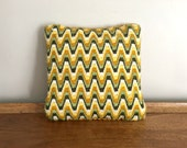 Retro 1970s Throw Pillow Green & Gold Yarn and Corduroy Sofa Pillow
