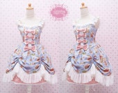 READY STOCK Classic Blue Sweet Lolita Dress with Laces and Ruffle Skirt - Sweetheart Neckline Dress - Tea Party Dress - Victorian Dress