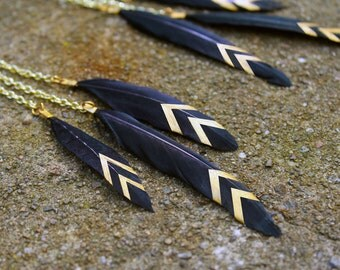ON SALE: Skinny Black Feather Dangle Earrings with Gold or Silver Chevron Stripes