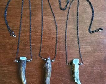 Natural Deer Antler Necklace//Bone Jewelry//Antler Jewelry