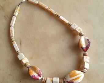 Vintage chunky art glass bead choker signed Japan