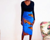Fully lined African print midi pencil skirt (blue)