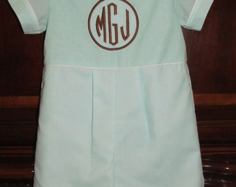 Baby Boy Monogram Romper Shortall Longall Easter Outfit Take Me Home First Birthday Outfit