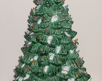 """Vintage 21"""" Frosted Ceramic Christmas Tree Made in Holland With Stand Marked '68"""