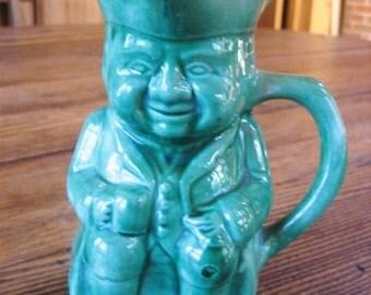 "Vintage Blue Green Toby Mug Jug Pitcher Stein Tankard Marked J.C.P. 5.25"""