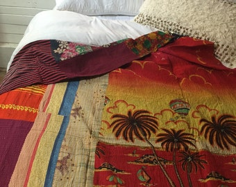 Indian Quilt, Kantha Quilt, Kantha Throw, Gypsy Blanket, Boho Decor, Colorful Patchwork