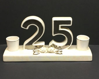Vintage Norcrest Golden Dogwood Lusterware  25th Anniversary Candle Holder