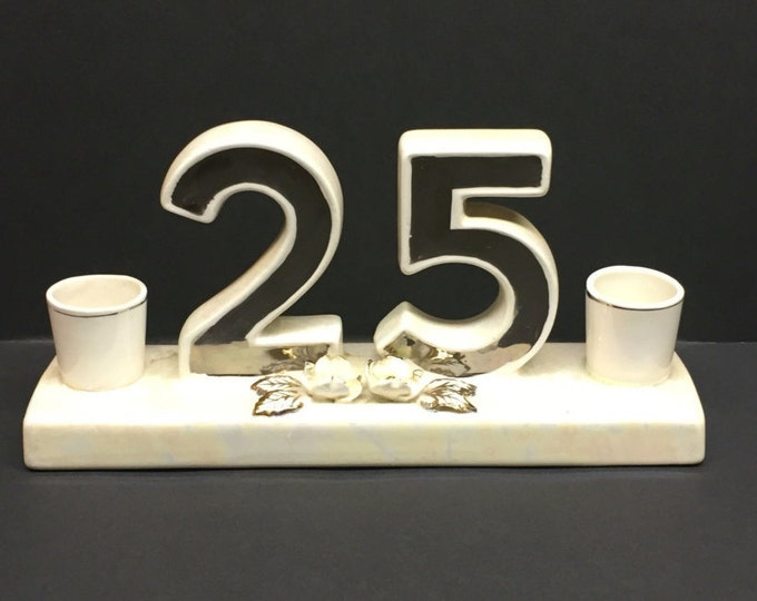 Featured listing image: Vintage Norcrest Golden Dogwood Lusterware  25th Anniversary Candle Holder