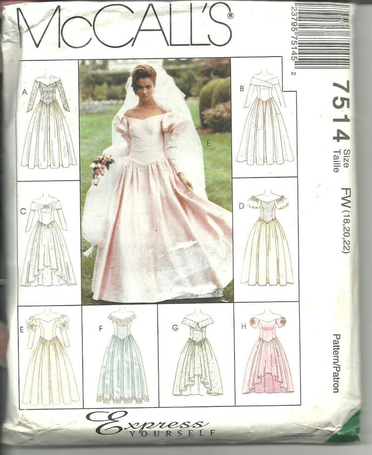 Mccalls pattern 7514 wedding gown bridal dress 8 by for Wedding dress patterns mccalls