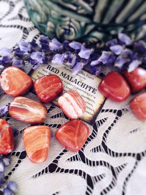 Red Malachite Stone : Tumbled red malachite natural gemstones inner by