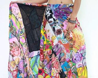 Skirt SDB677N Thailand Cotton Patchwork Lagenlook Festival Carnival Wrap Long Sarong Boho Gypsy Hippie Sun Casual