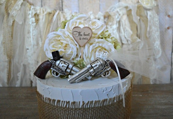 pistol gun shot gun hunting wedding cake topper bride and