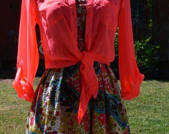 glowing orange sheer blouse size small
