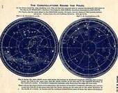 1943 star maps, POLAR STAR MAP stronomy star atlas map original vintage zodiac chart map stars constellation star stargazing