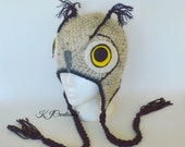 Owl Hat (All sizes available-Made to order) Handmade owl hat