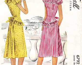 1940s Peplum Dress for Misses and Juniors - Vintage McCall Sewing Pattern 6792