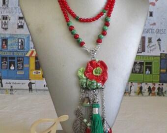 Collier plastron pendentif céramique hippie chic avec perles de différentes couleurs