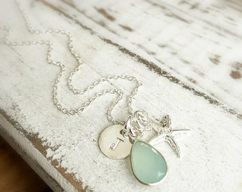 Bridesmaid Necklace . Bridesmaid Jewelry . Bridesmaid Beach . Beach Necklace . Personalized Initial . Personalized Necklace . Gemstone
