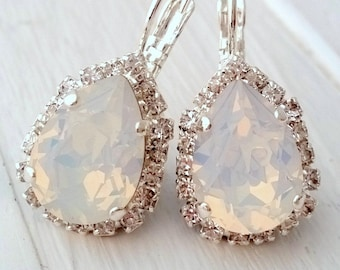 White opal Swarovski drop earrings, Drop earrings, Bridal earrings, Bridesmaids jewelry, Dangle earrings, Silver plated earrings
