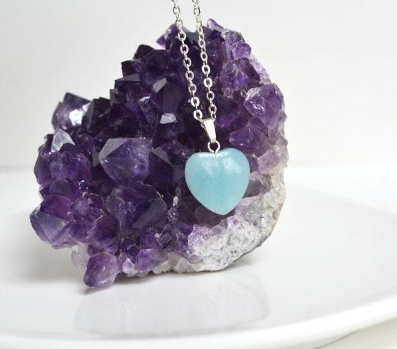 Amazonite Necklace, Amazonite Heart Pendant, Stone Heart Necklace, Mint Stone Necklace, Pale Blue Stone, Love Stone Necklace, Geology Gift