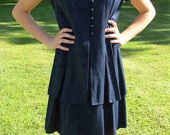 Vintage 80s Ladies Navy Blue Dress by Jodi Michaels Size 7/8 Only 8 USD