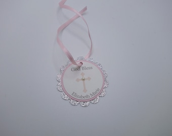 Light Pink and Silver Sparkle Christening, Confirmation, Baptism, Communion Thank You Favor Tags, Pink Cross Tags, Communion Favor, Bautizo